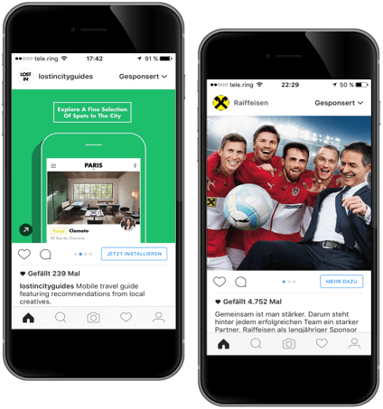 Mit visuellen Instagram-Kampagnen Ads erreichen Sie eine interessante, mobile Zielgruppe durch \